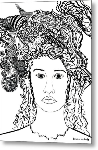 Wild Hair Portrait In Shapes And Lines Metal Print
