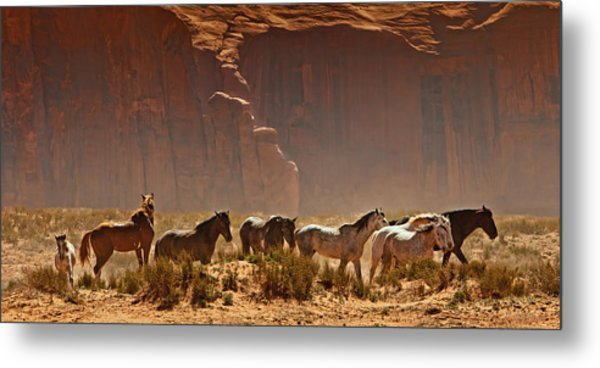 Wild Horses In The Desert Metal Print