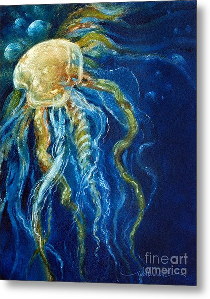 Wild Jellyfish Reflection Metal Print