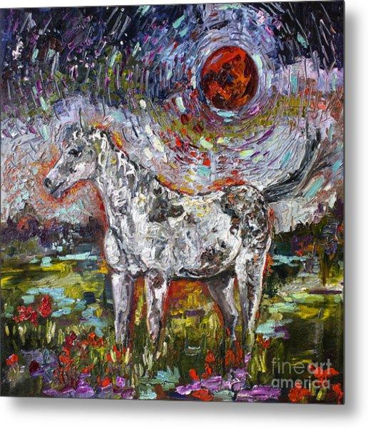 Wild Pony Under Crimson Moon Metal Print
