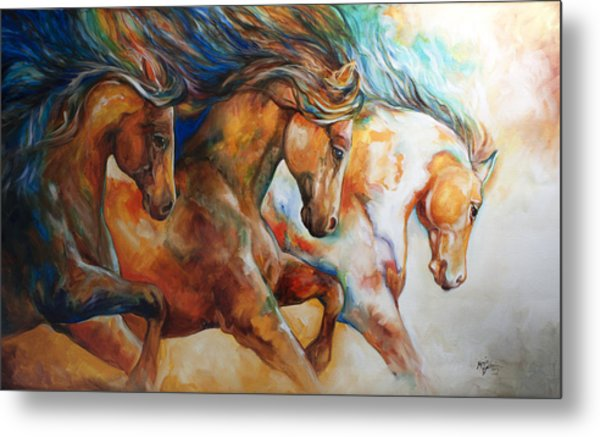 Wild Trio Run Metal Print