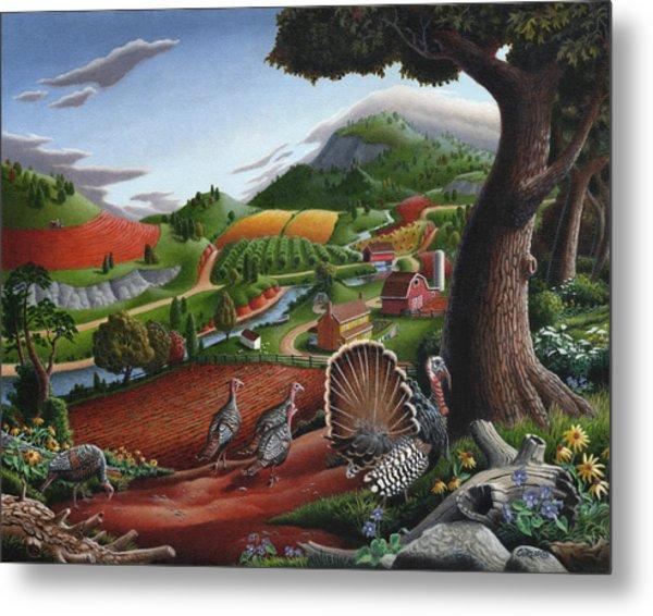 Wild Turkeys Appalachian Thanksgiving Landscape - Childhood Memories - Country Life - Americana Metal Print