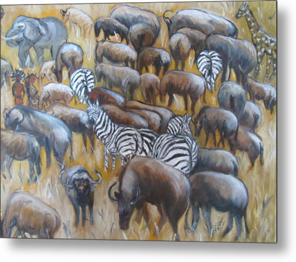 Wildebeest Migration In Kenya Metal Print