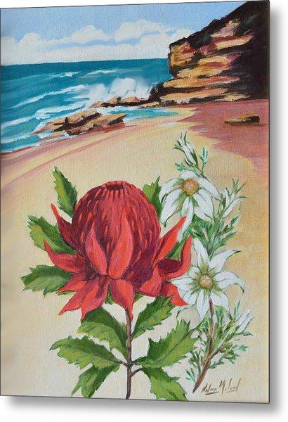 Wildflowers And Headland Metal Print by Aileen McLeod