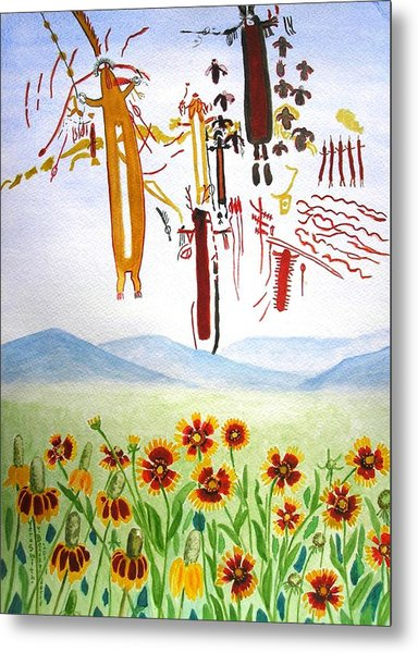 Wildflowers And Rock Art At Halo Shelter  Metal Print