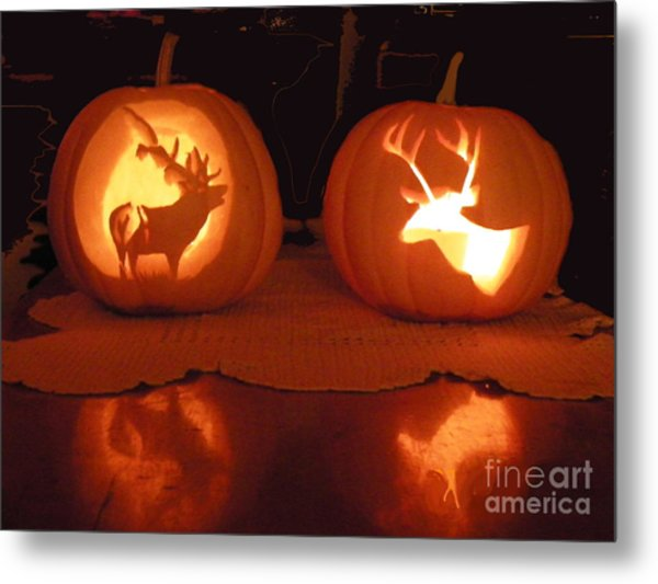 Wildlife Halloween Pumpkin Carving Metal Print