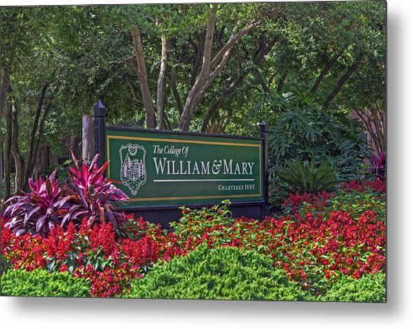 William And Mary Welcome Sign Metal Print