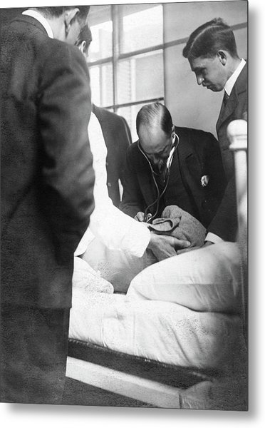 William Osler Attending A Patient Metal Print by National Library Of Medicine
