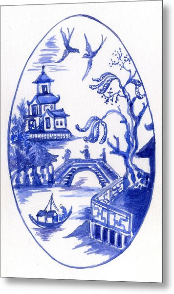 Willow Pattern Egg II Metal Print
