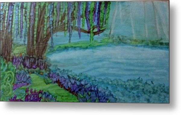 Willows By The Pond Metal Print