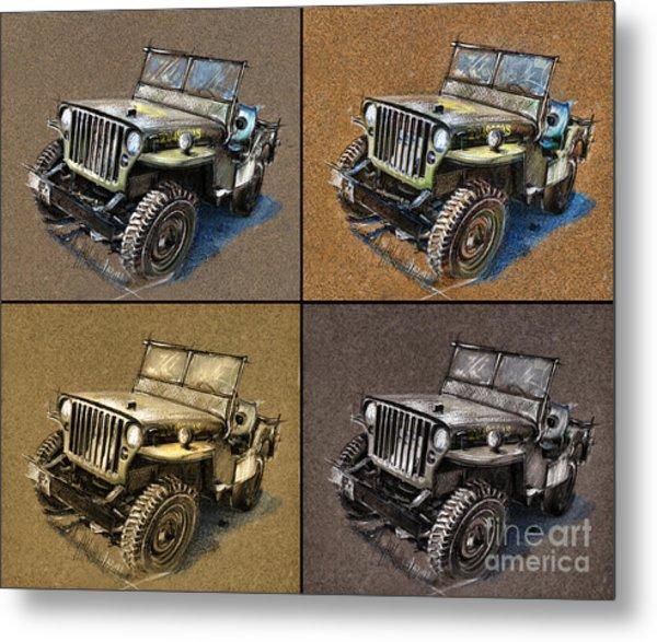 Willys Jeep Mb Car Drawing Metal Print