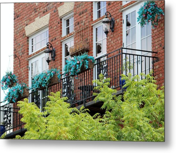 Blue Flowers On A Balcony  Metal Print