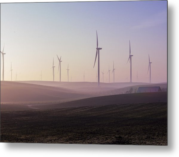 Wind Farm At Dawn Metal Print
