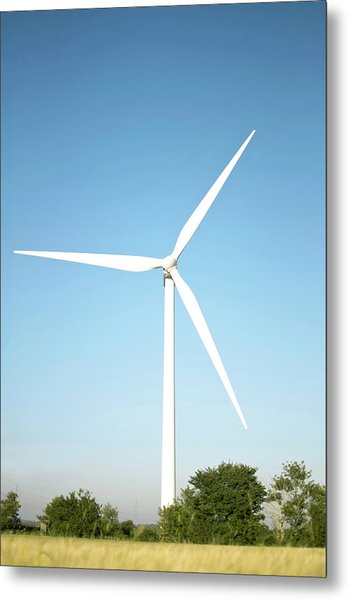 Wind Turbine And Blue Sky Metal Print by Jesper Klausen / Science Photo Library