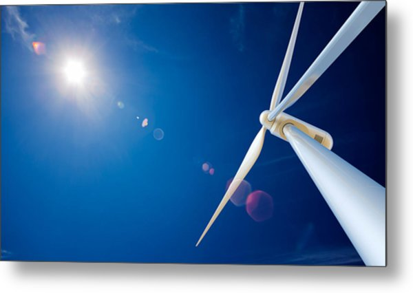 Wind Turbine And Sun  Metal Print