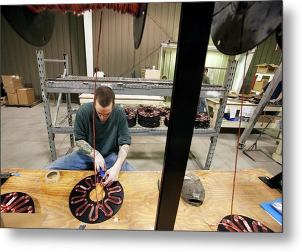 Wind Turbine Manufacturing Metal Print