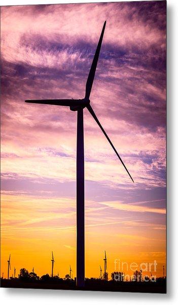 Wind Turbine Picture On Wind Farm In Indiana Metal Print