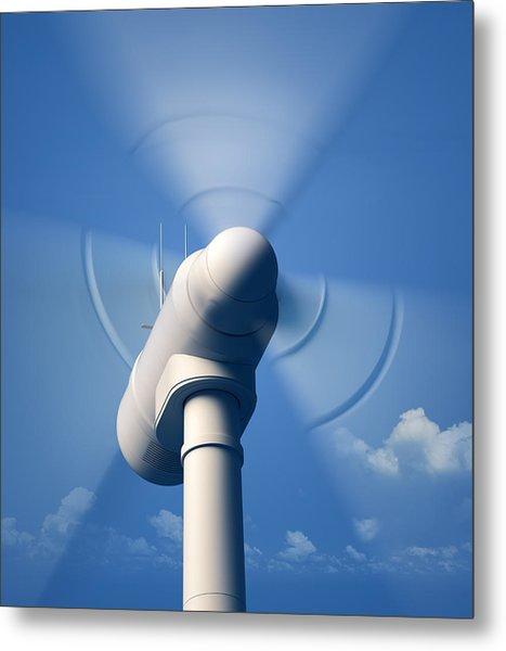 Wind Turbine Rotating Close-up Metal Print