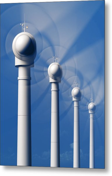 Wind Turbines In Motion From The Front Metal Print