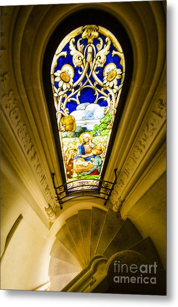 Winding Chapel Stairs And Stained Glass Metal Print