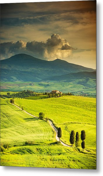 Winding Road In Tuscany Metal Print by Gehringj