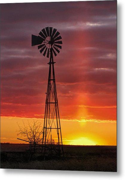 Windmill And Light Pillar Metal Print