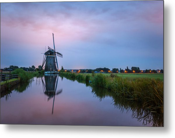 Windmill At Dawn Metal Print