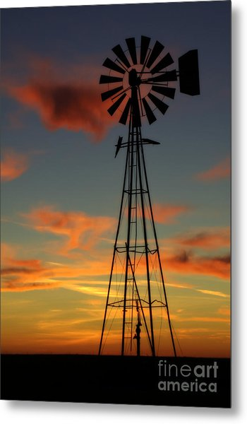 Windmill At Sunset 1 Metal Print