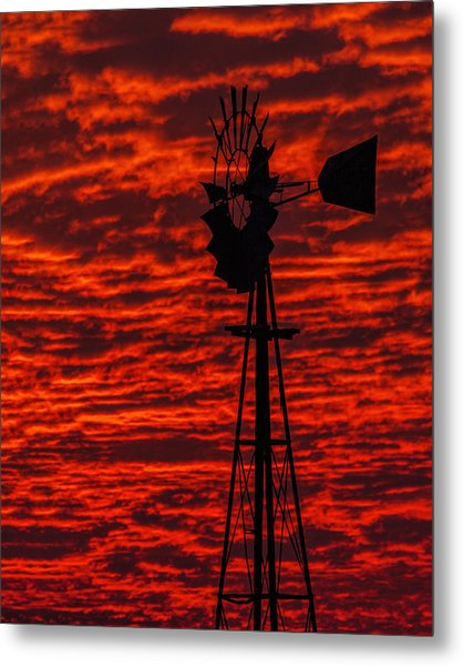 Metal Print featuring the photograph Windmill At Sunset by Rob Graham