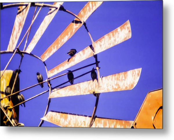 Windmill Birds Metal Print