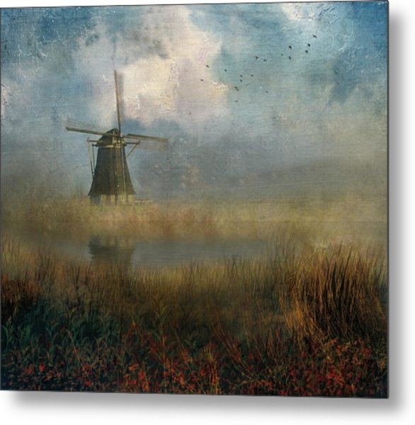 Windmill In Mist Metal Print
