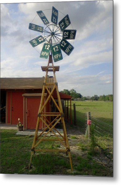 Windmill Speed Sign Posted Metal Print