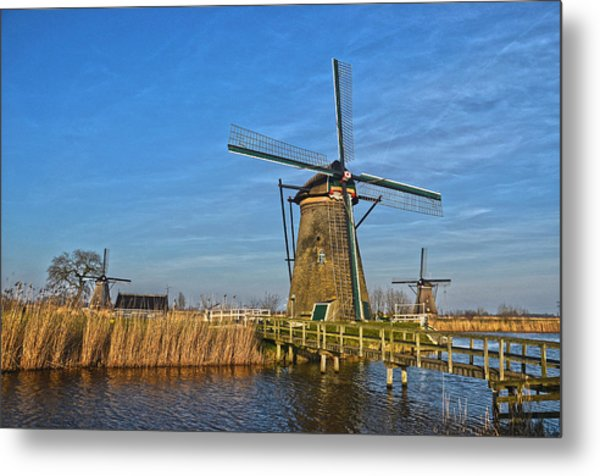 Windmills And Bridge Near Kinderdijk Metal Print