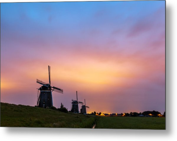 Windmills At Dawn Metal Print