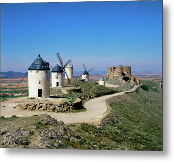 Windmills At La Mancha, Spain Metal Print