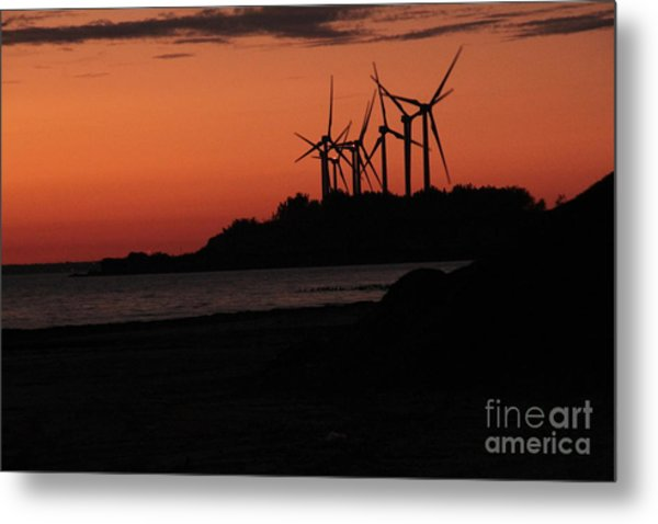 Windmills At Sunset Metal Print