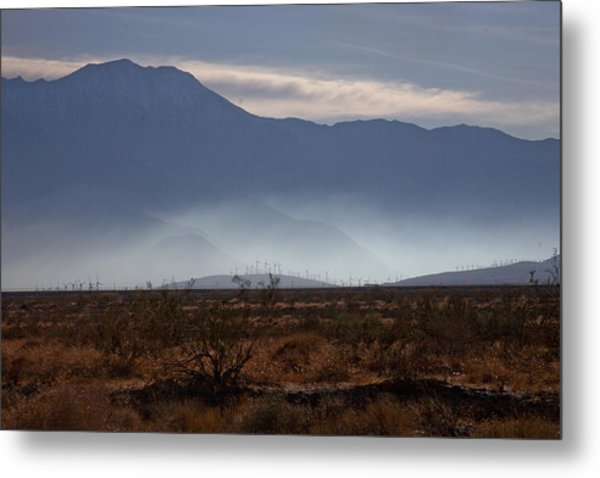 Windmills In The Fog Metal Print