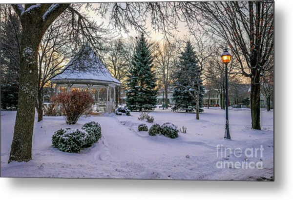 Metal Print featuring the photograph Windom Gazebo With Lamp by Kari Yearous