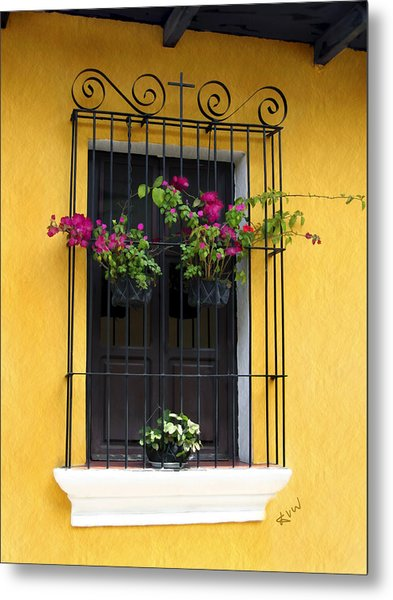 Window At Old Antigua Guatemala Metal Print