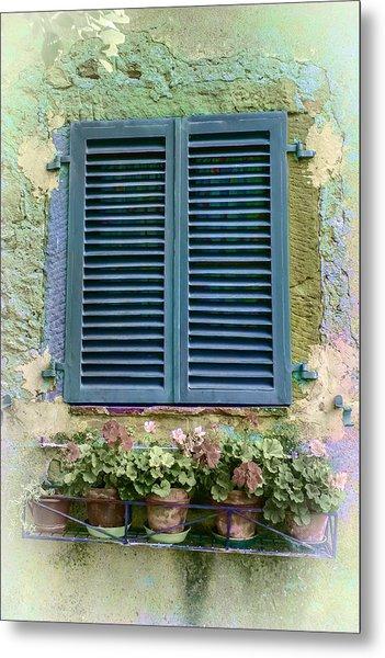 Window In Cortona - Texture Added Metal Print