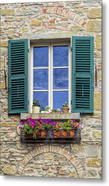 Window Of Tuscany With Green Wood Shutters Metal Print