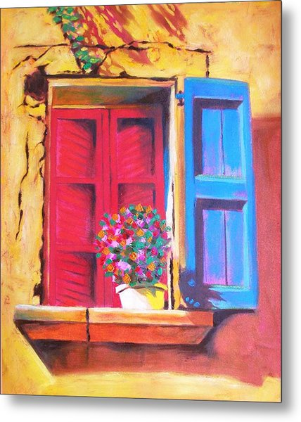 Window On The Rue In Roussillon France Metal Print by Susi Franco