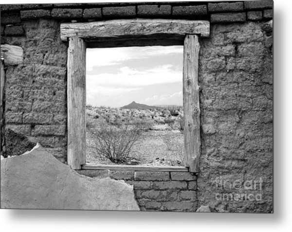 Window Onto Big Bend Desert Southwest Black And White Metal Print