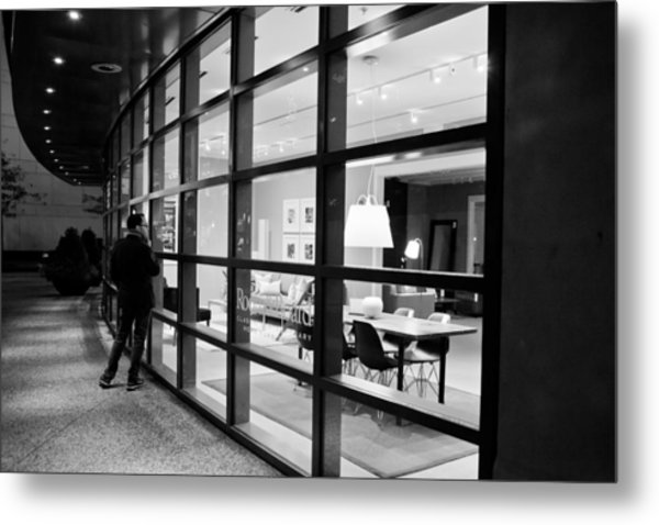 Window Shopping In The Dark Metal Print