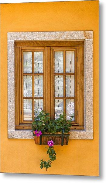Window With Flowers Metal Print