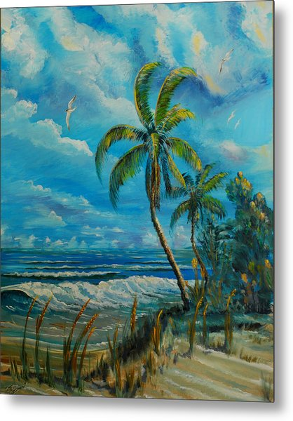 Metal Print featuring the painting Windswept Beach by Steve Ozment