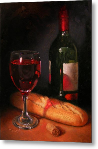 Wine And Baguette Metal Print by Timothy Jones