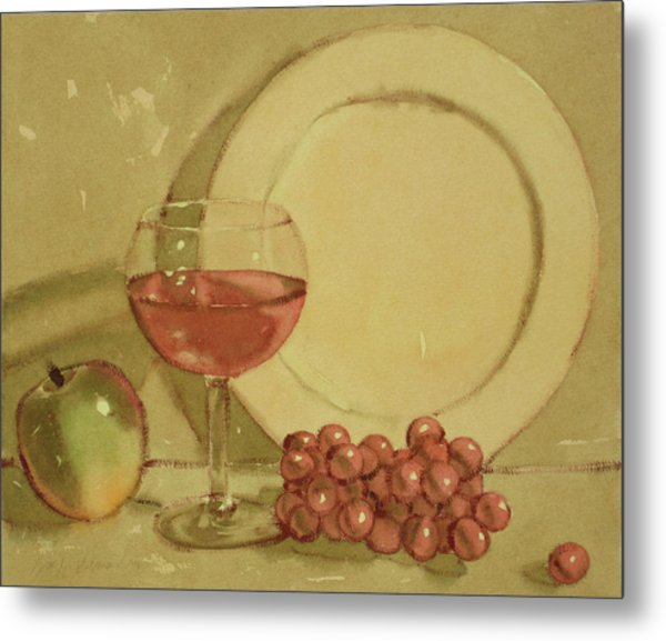 Wine And Plate Metal Print