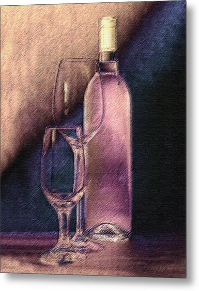 Wine Bottle With Glasses Metal Print