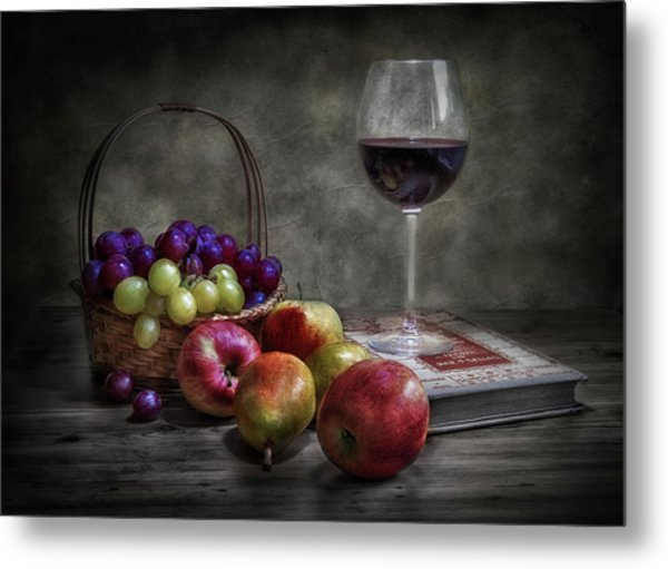 Wine, Fruit And Reading. Metal Print by Fran Osuna